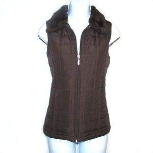 Jane Ashley Chocolate Brown Puffer Vest